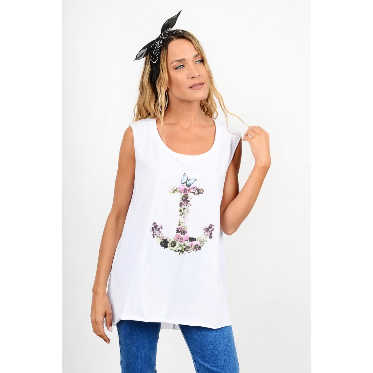 Printed sleevless blouse