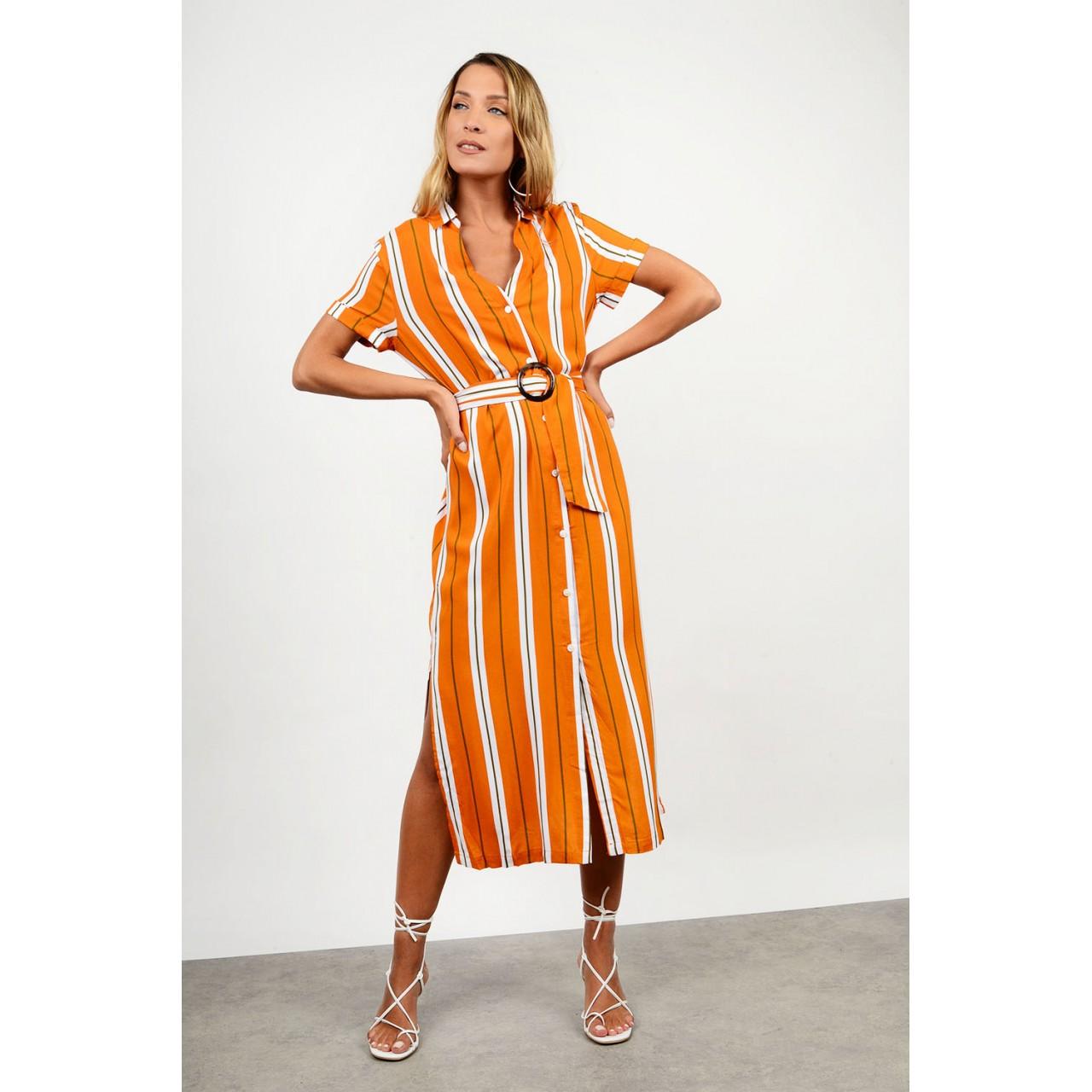 Midi striped dress with belt