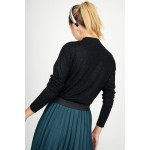 Knitted blouse with turtle neck & silver thread