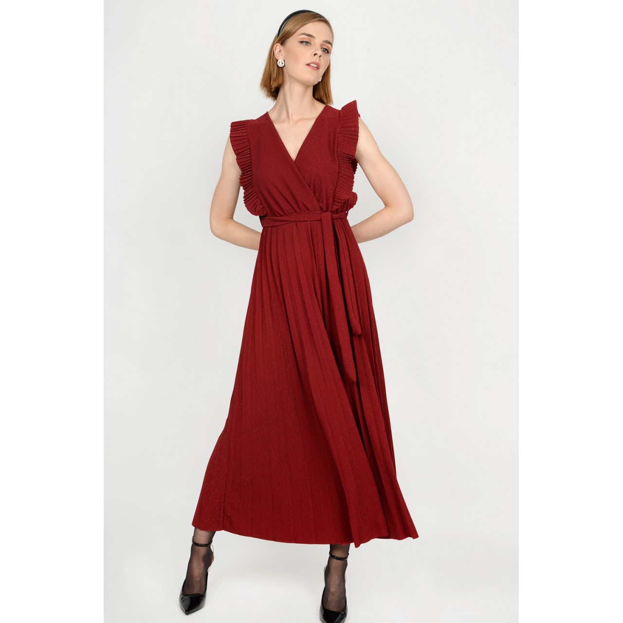 Maxi pleated ruffled dress Limited Edition