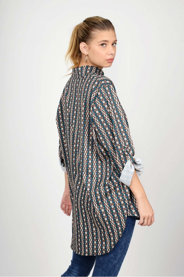 Oversized printed long shirt