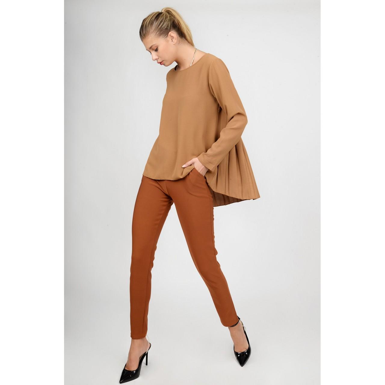 Asymmetrical pleated blouse