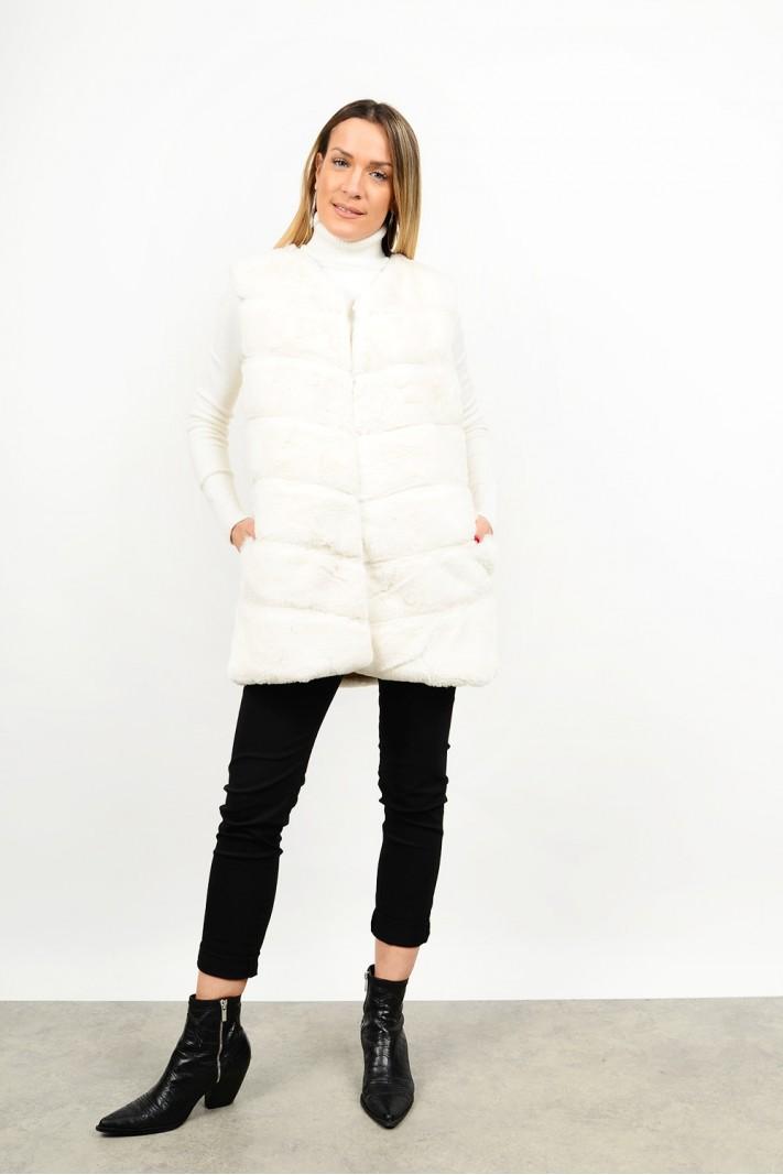 Fur vest with pockets