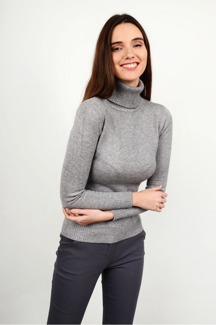 Basic knitted blouse with turtle neck