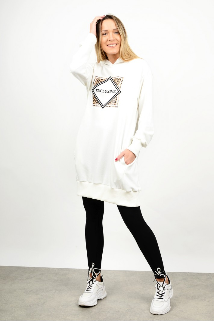 Oversized hooded sweatshirt blouse/dress