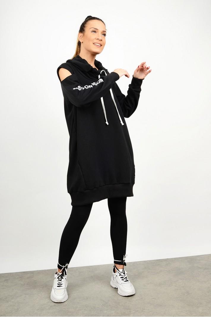 Oversized sweatshirt blouse/dress with opening