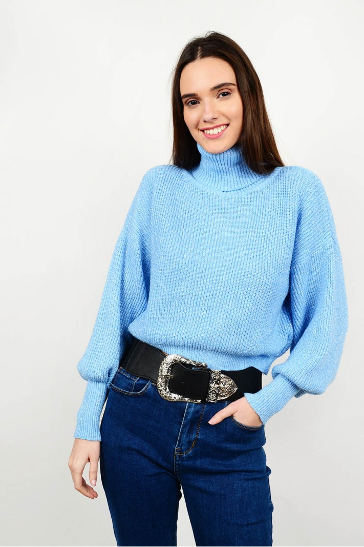 Knitted blouse with silver thread & turtle neck