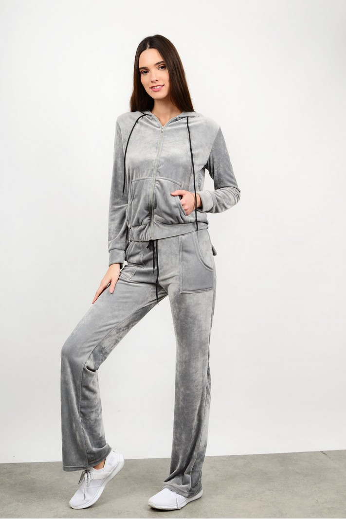 Velvet tracksuit set cardigan with pant