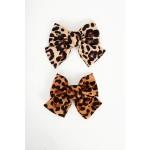 835.Τσιμπιδάκι μαλλιών animal print με φιόγκο