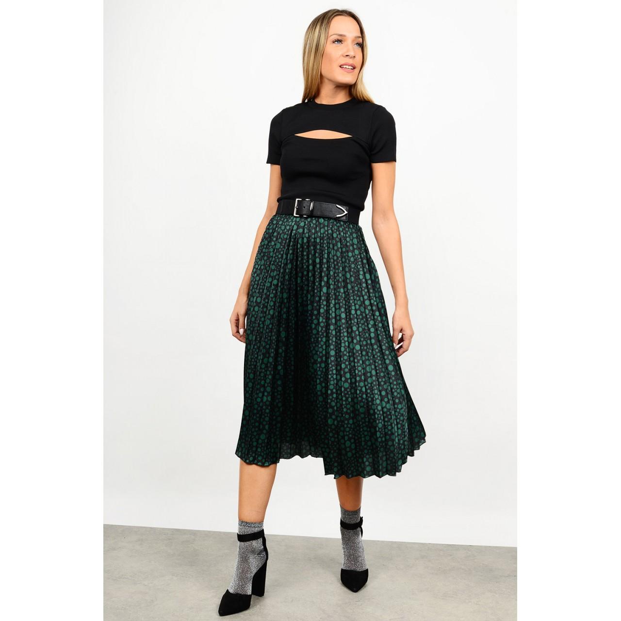 Midi pleated printed skirt