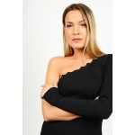 Midi rib slim fit dress with one shoulder
