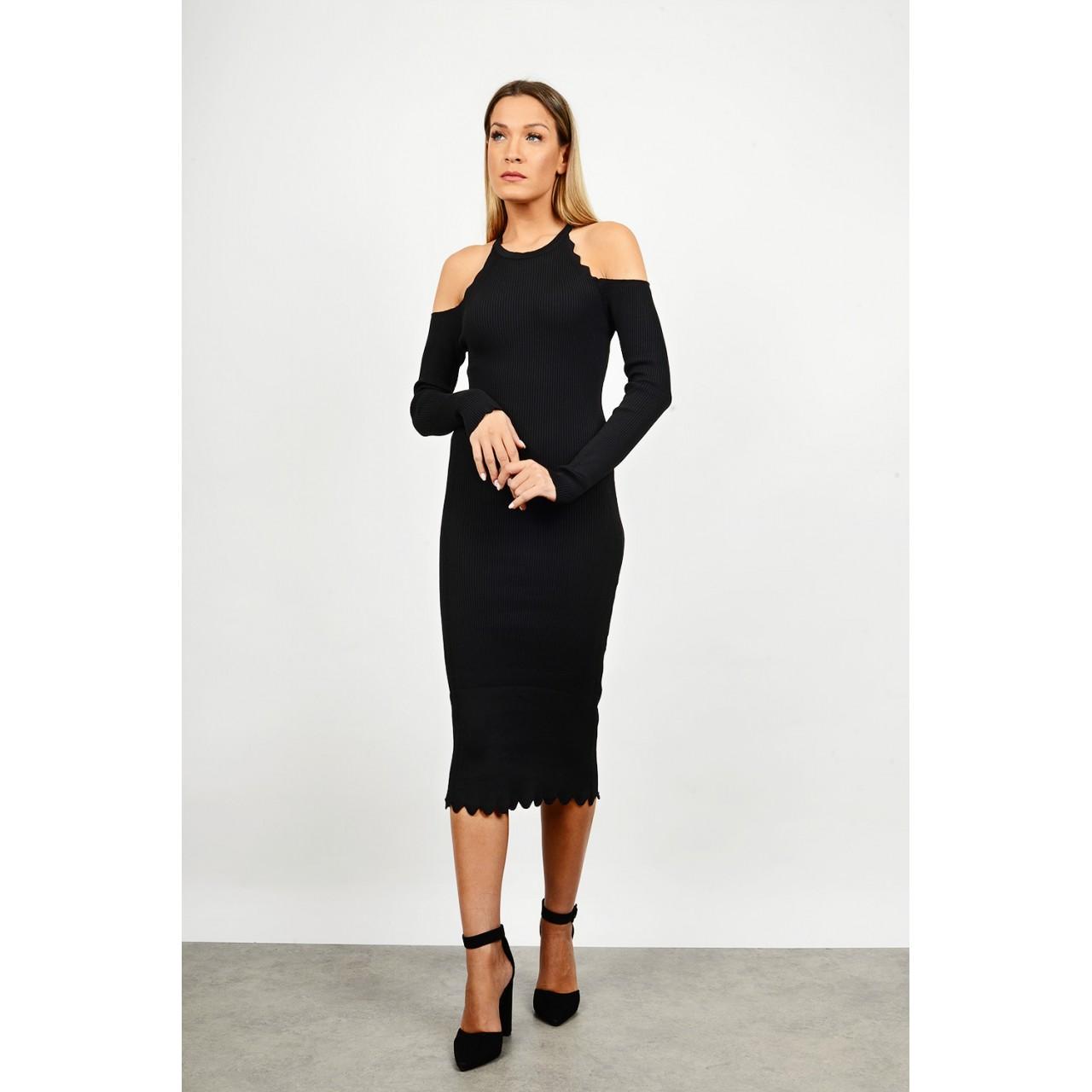 Midi rib slim fit dress with open shoulders
