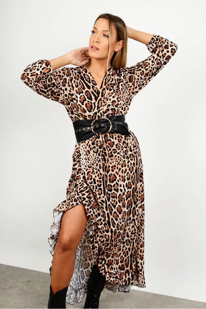 Maxi asymmetrical leopar dress
