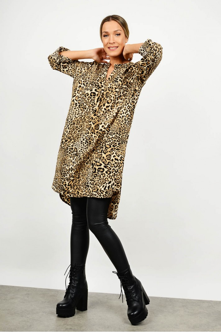 Oversized asymmetrical leopar shirt