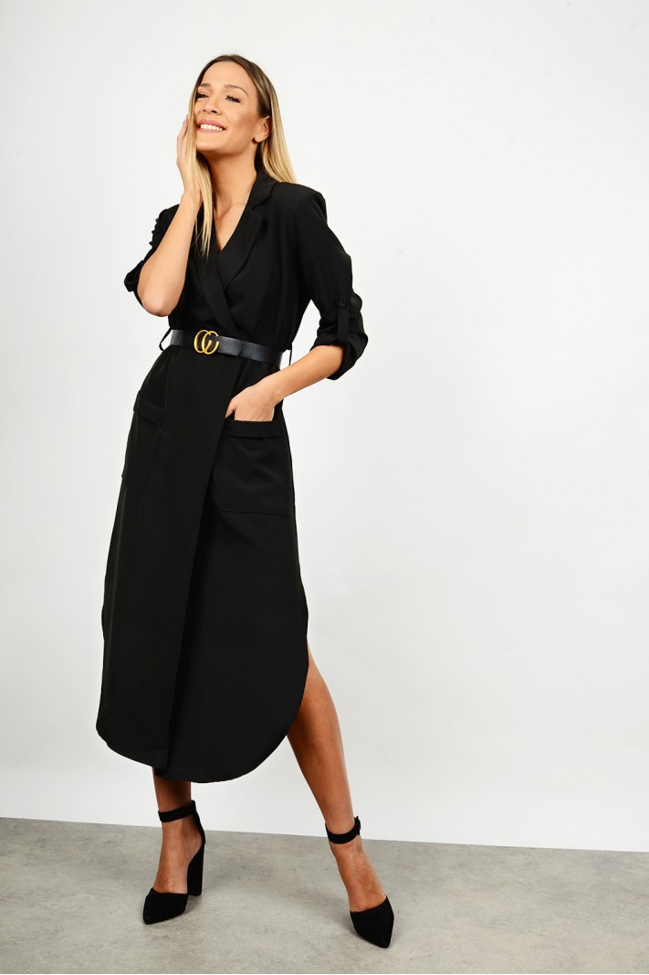 Midi dress with belt & pockets
