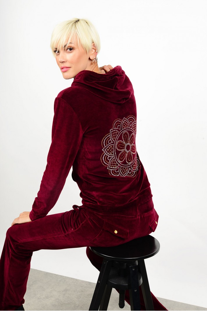 Velvet tracksuit set with strass