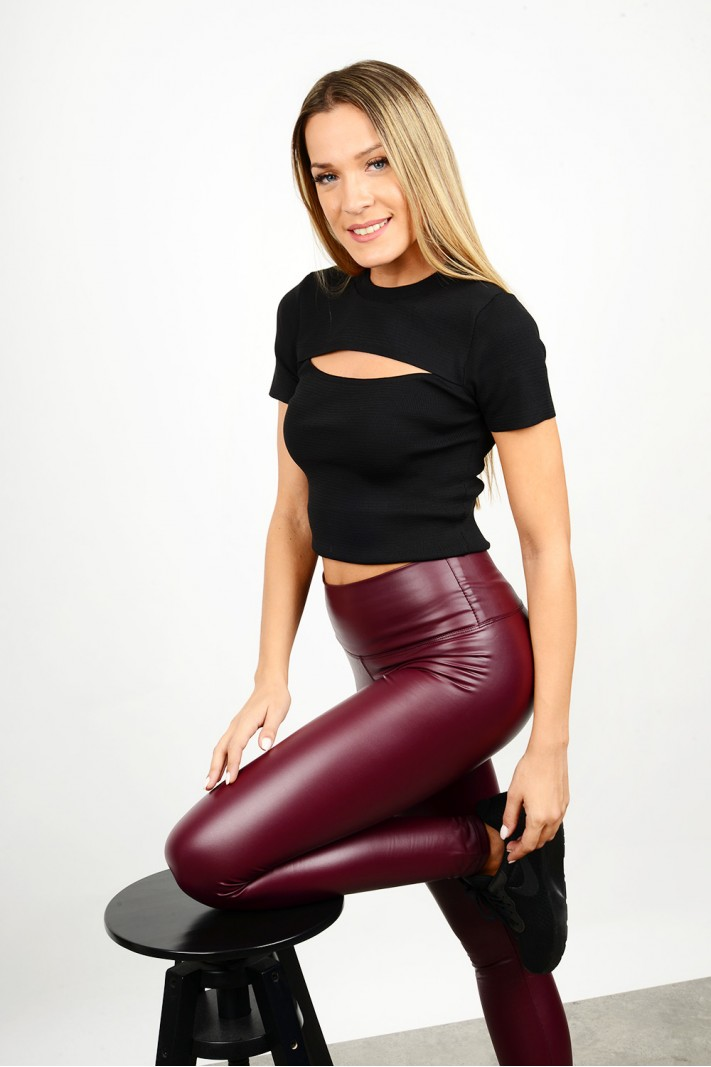 High waist leather legging