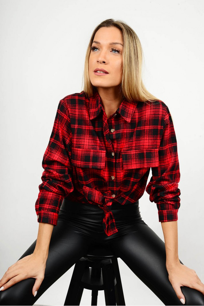 Checkered shirt with pockets