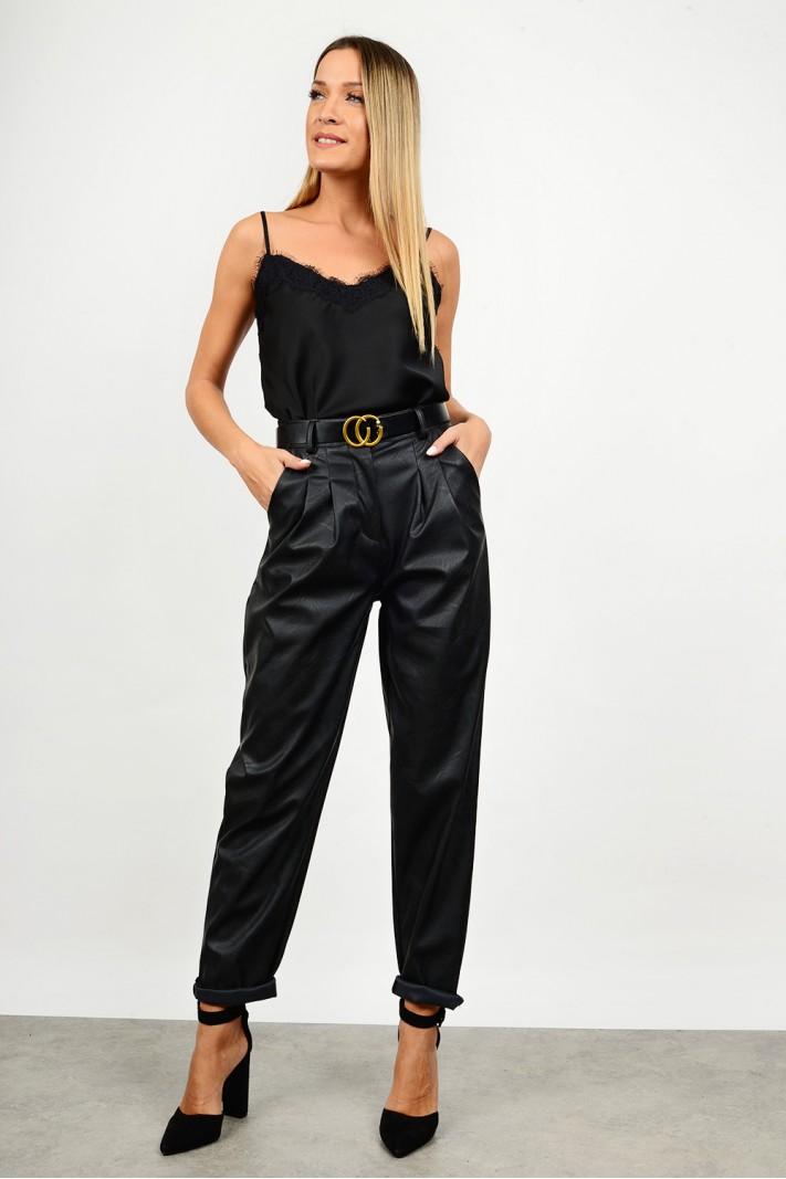 High waist slouchy leather pant