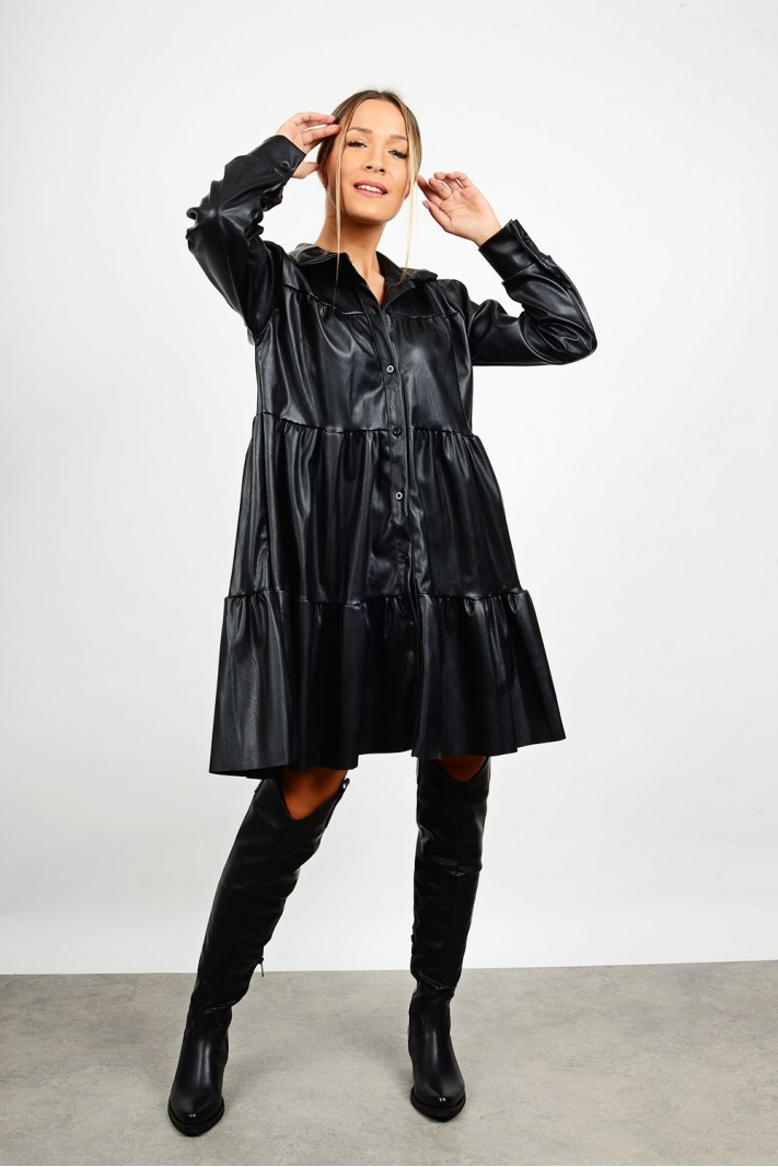 Midi ruffled leather dress