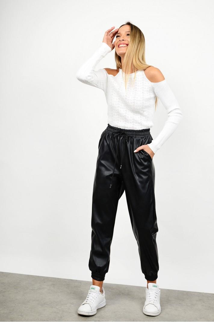 High waist leather pant with elastics