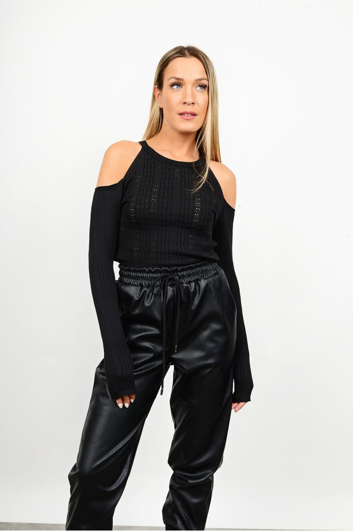 Rib blouse with open shoulders