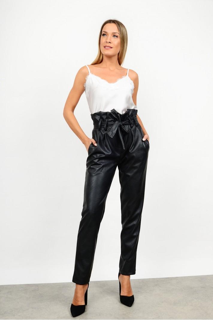 High waist leather pant
