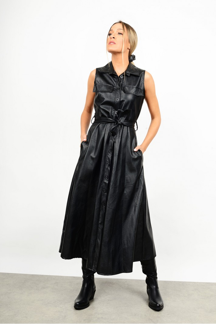 Midi leather dress in a-line
