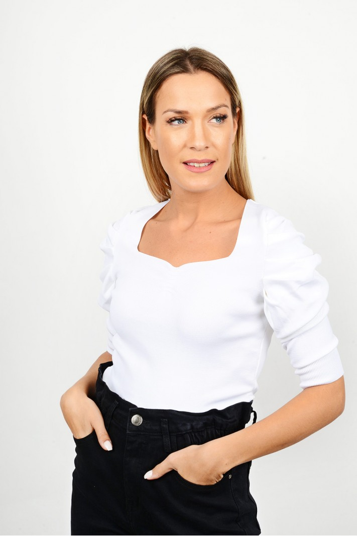 Rib top with ruffled sleeves