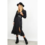 Midi asymmetrical polka dotted dress