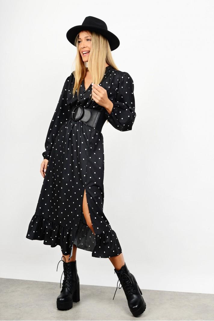 Midi asymmetrical polka dotted dress