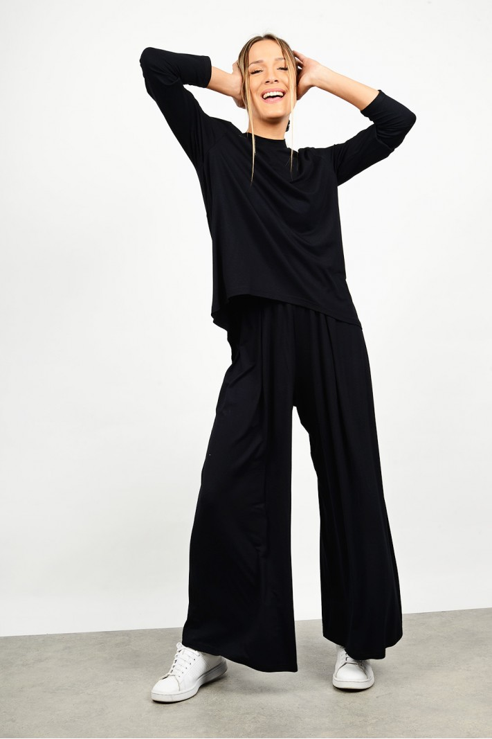 High waist pant with elastic