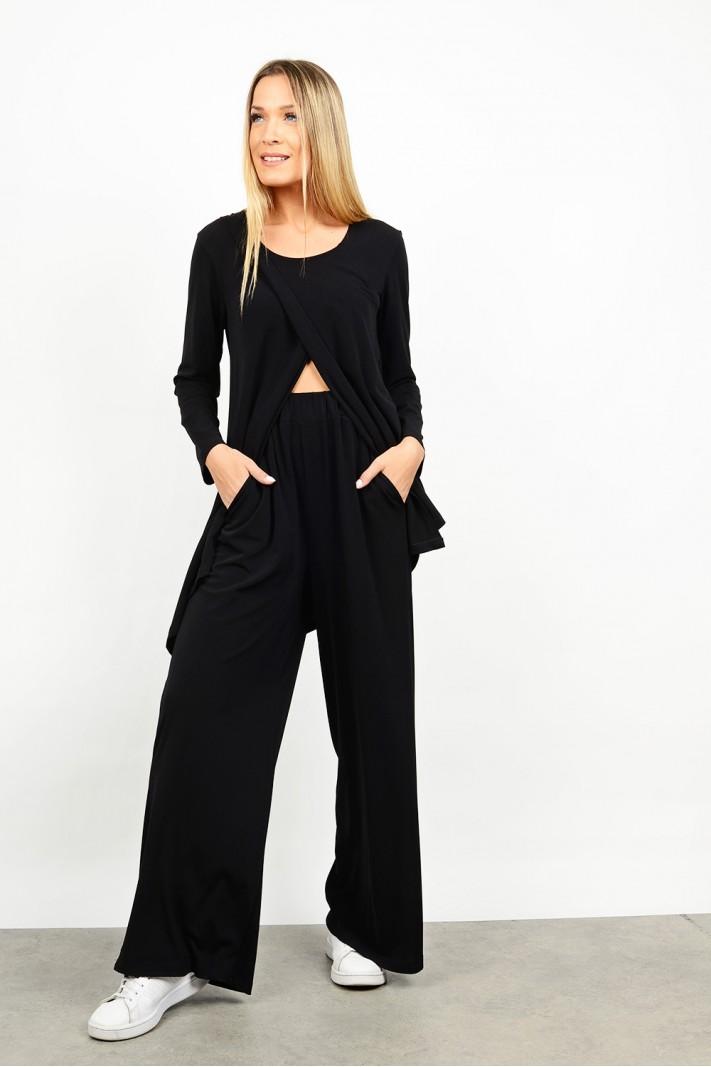 High waist pant with elastic & pockets