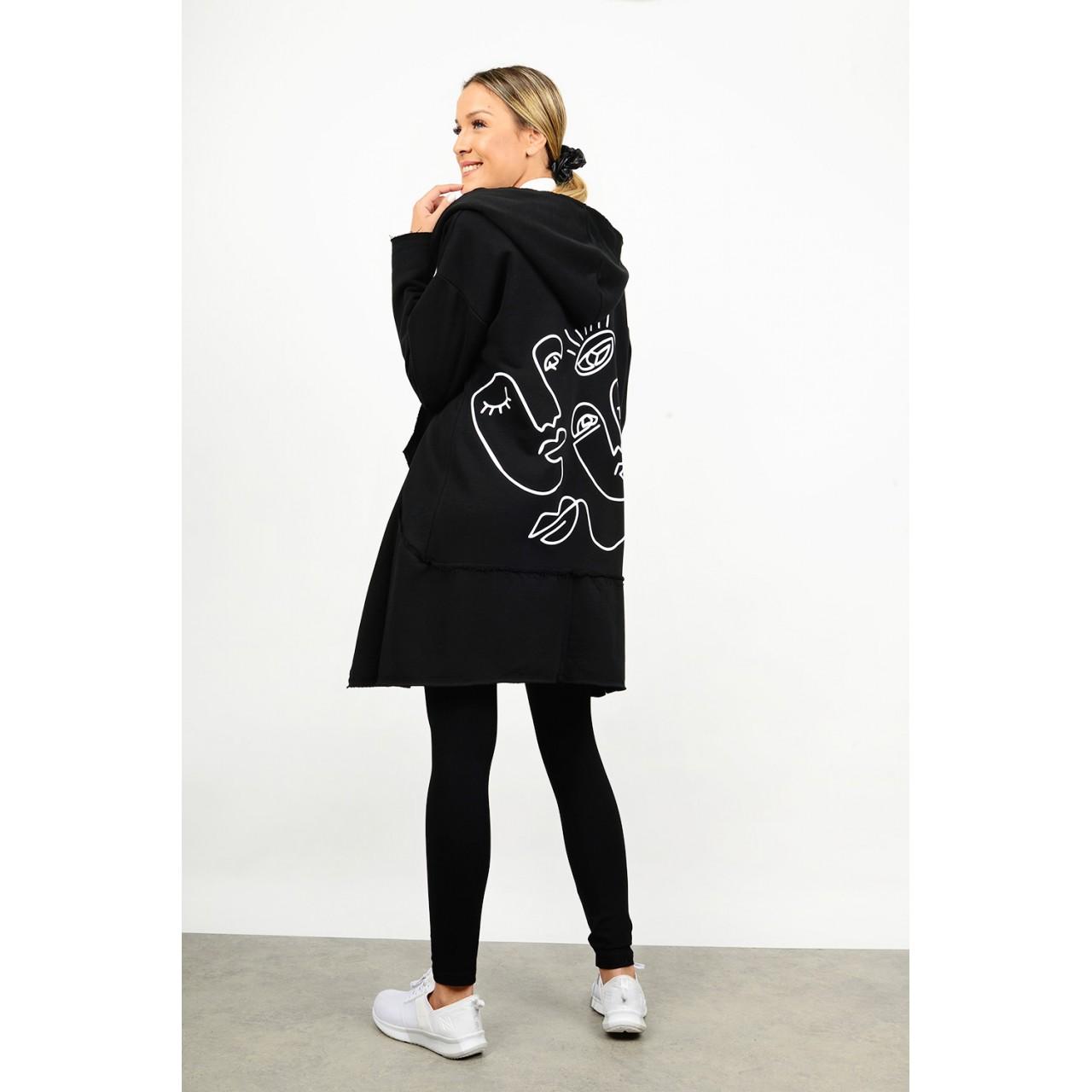 Sweatshirt hooded  printed cardigan