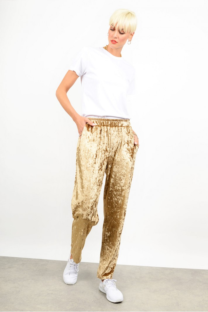 Tracksuit velvet pant with pockets