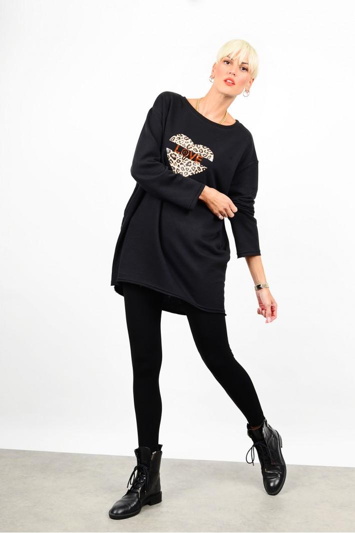 Oversized printed sweatshirt blouse/dress