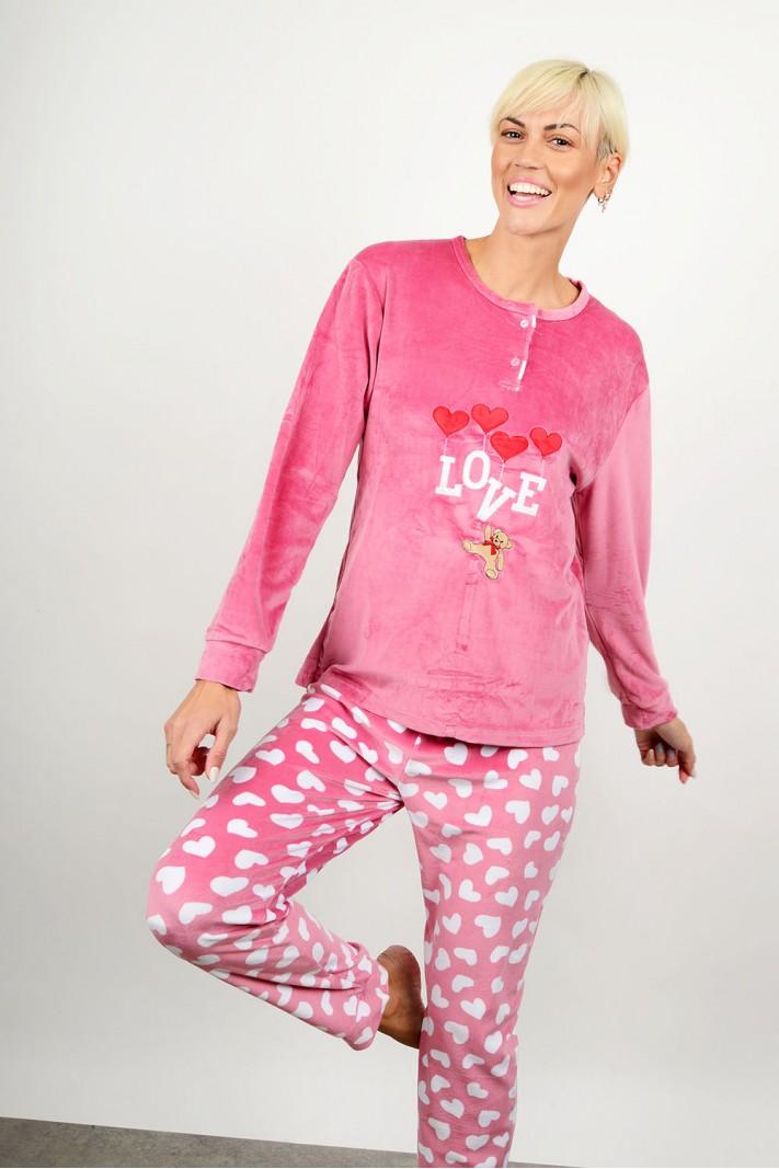 Velvet set pyjamas with pattern