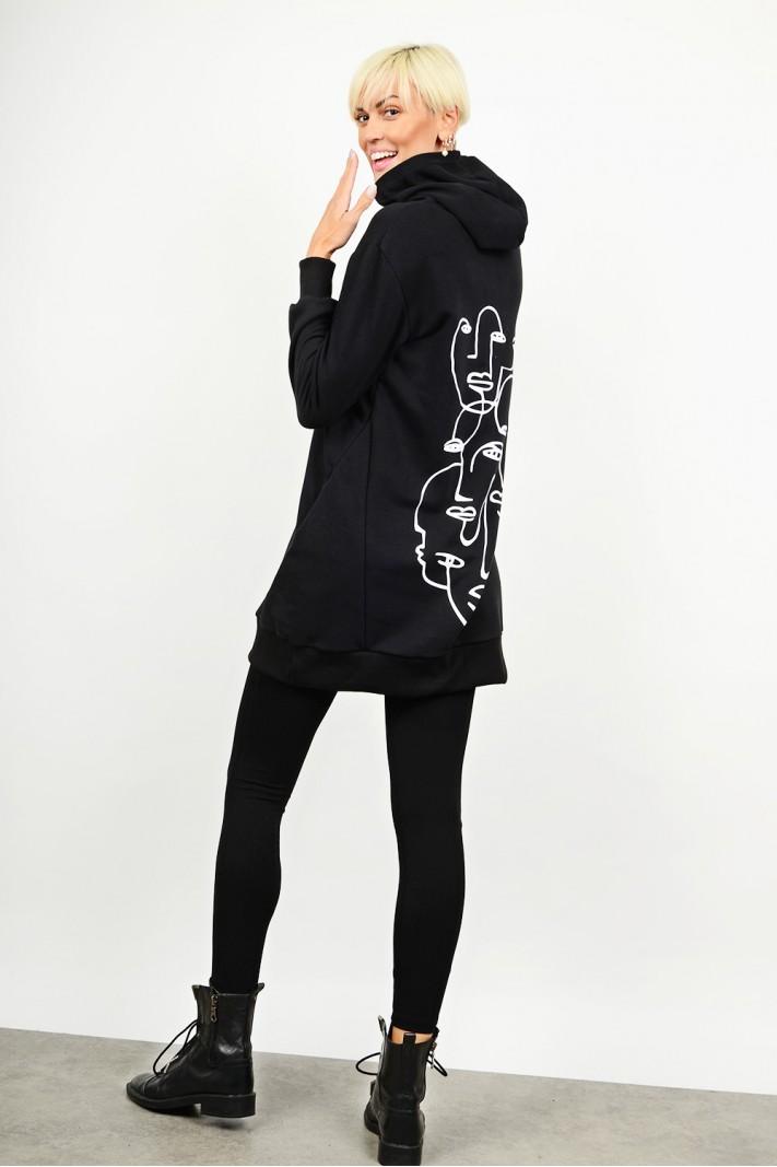 Oversized sweatshirt blouse/dress with v neck