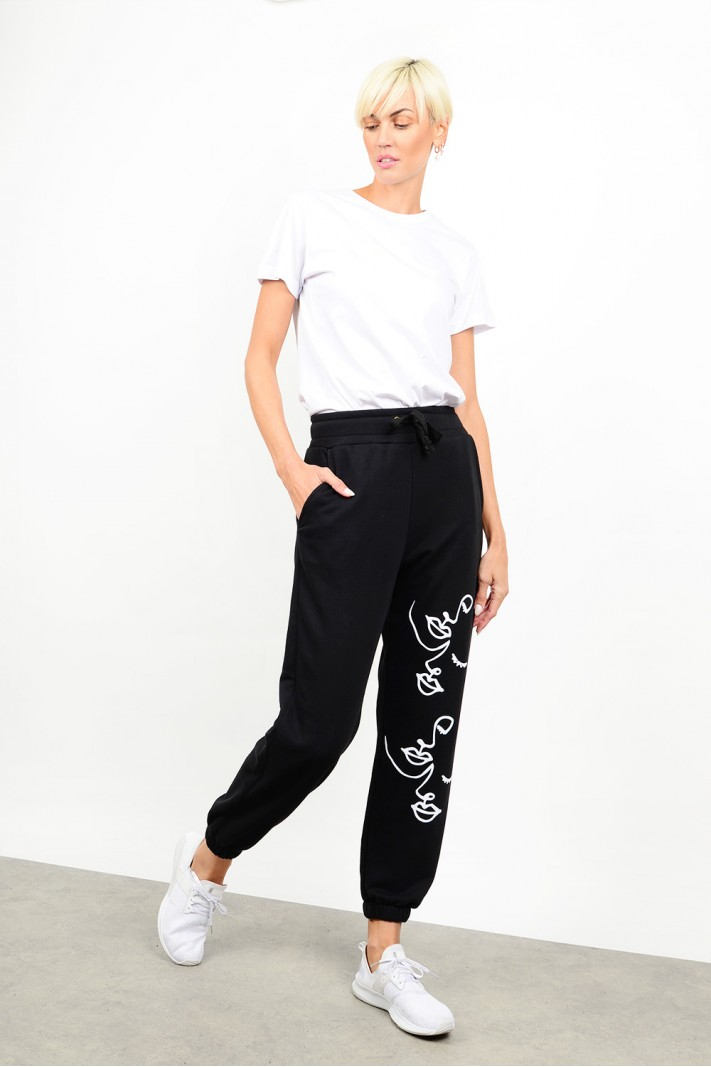 Tracksuit printed wide pant with pockets