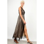 Maxi polka dotted transparent dress