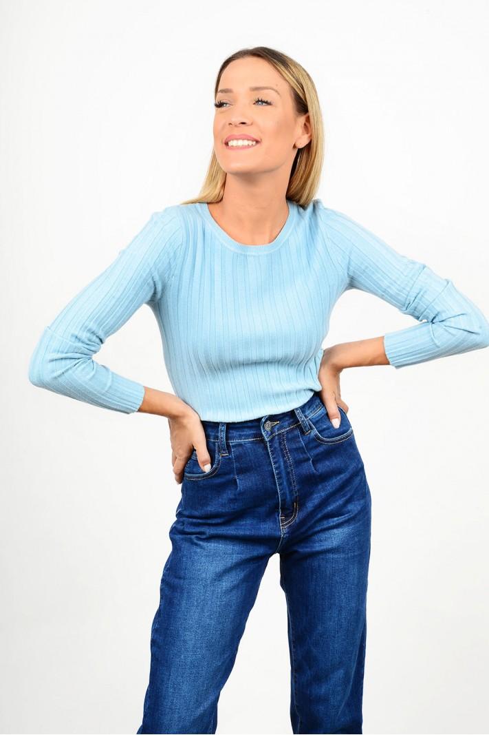 Basic rib blouse round neck