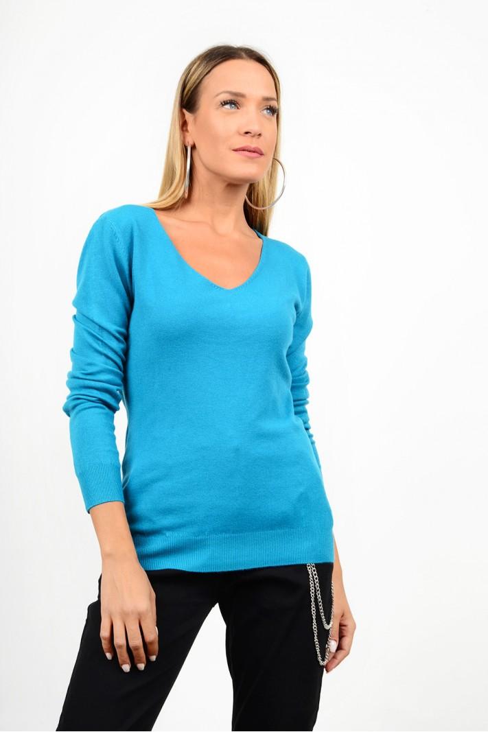 Basic knitted blouse v neck