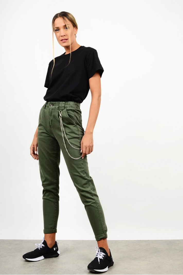 Slouchy high waist pant with chain