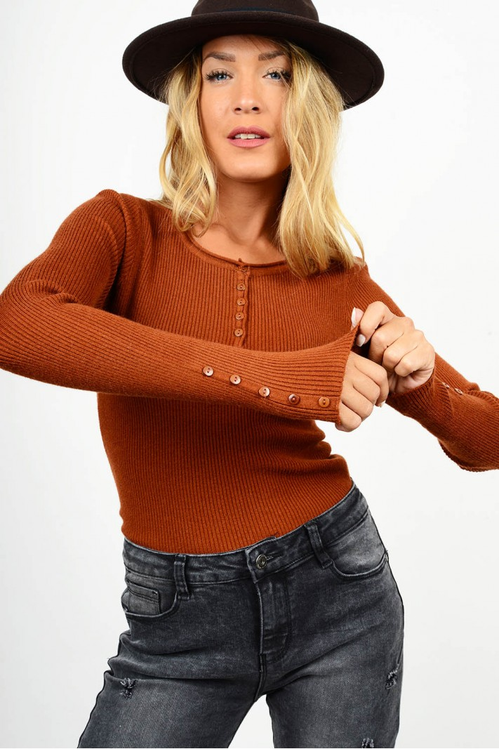 Rib blouse with buttons