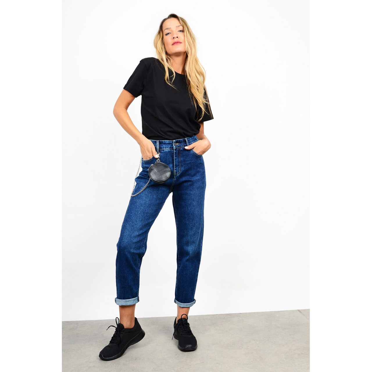 Slouchy high waist jean with wallet chain