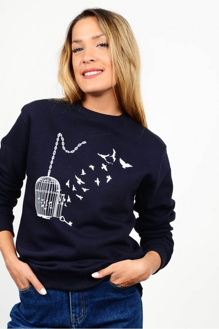 Sweatshirt printed blouse round neck