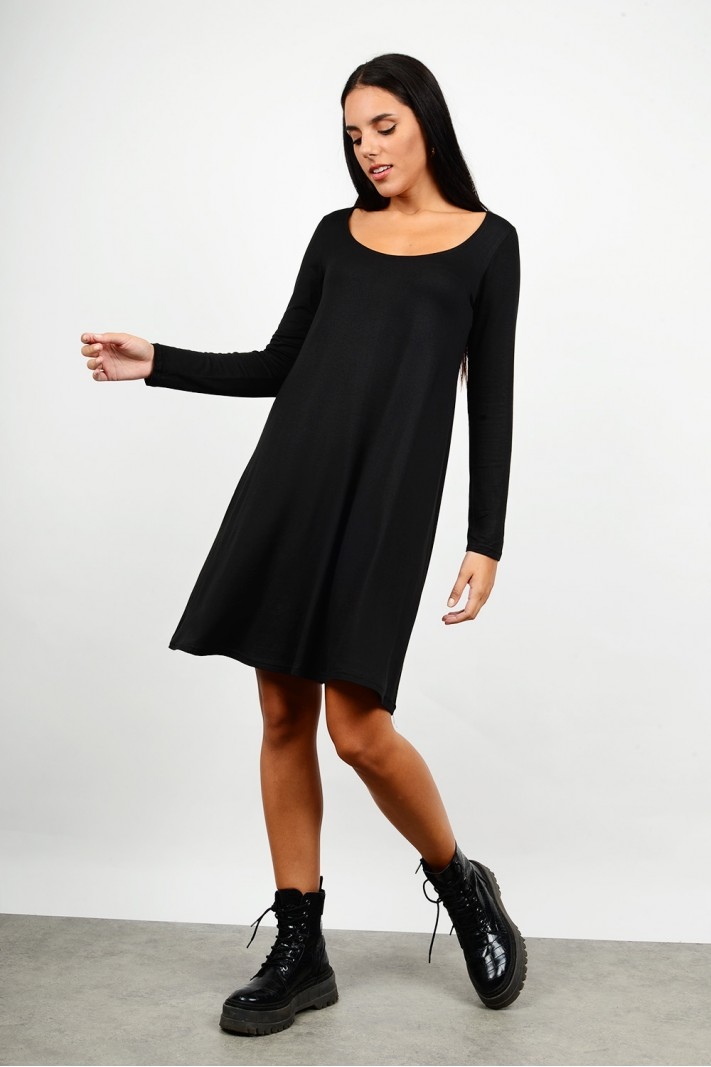 Midi basic dress in a-line