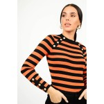 Knitted rib striped blouse with buttons