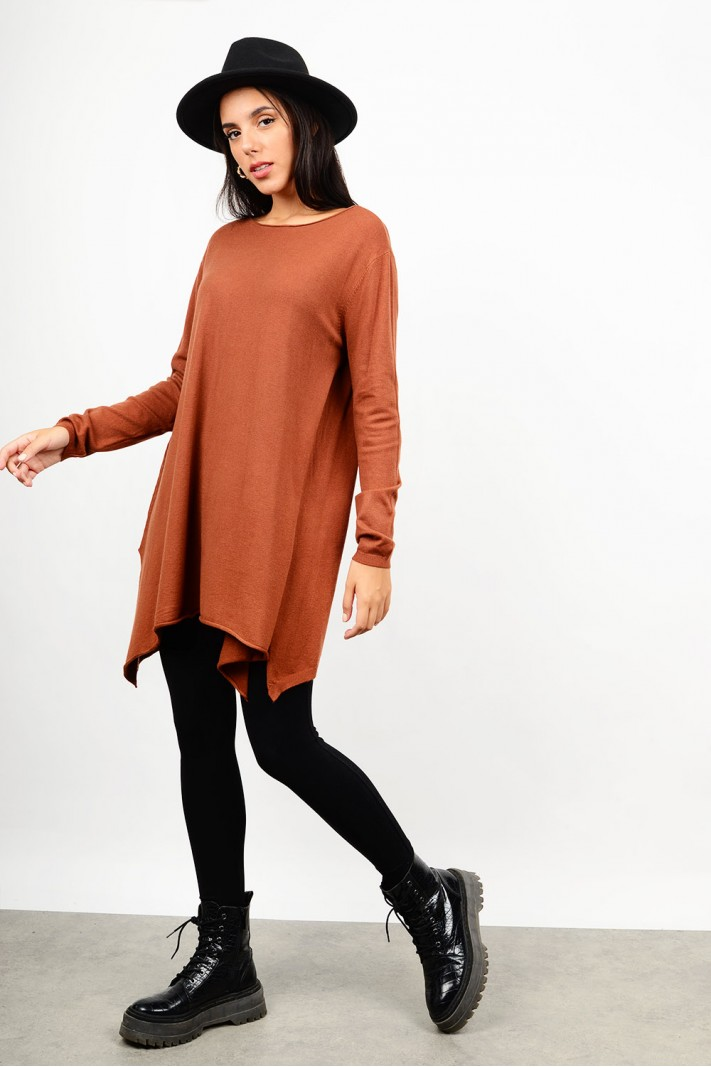 Oversized asymmetrical knitted blouse/dress