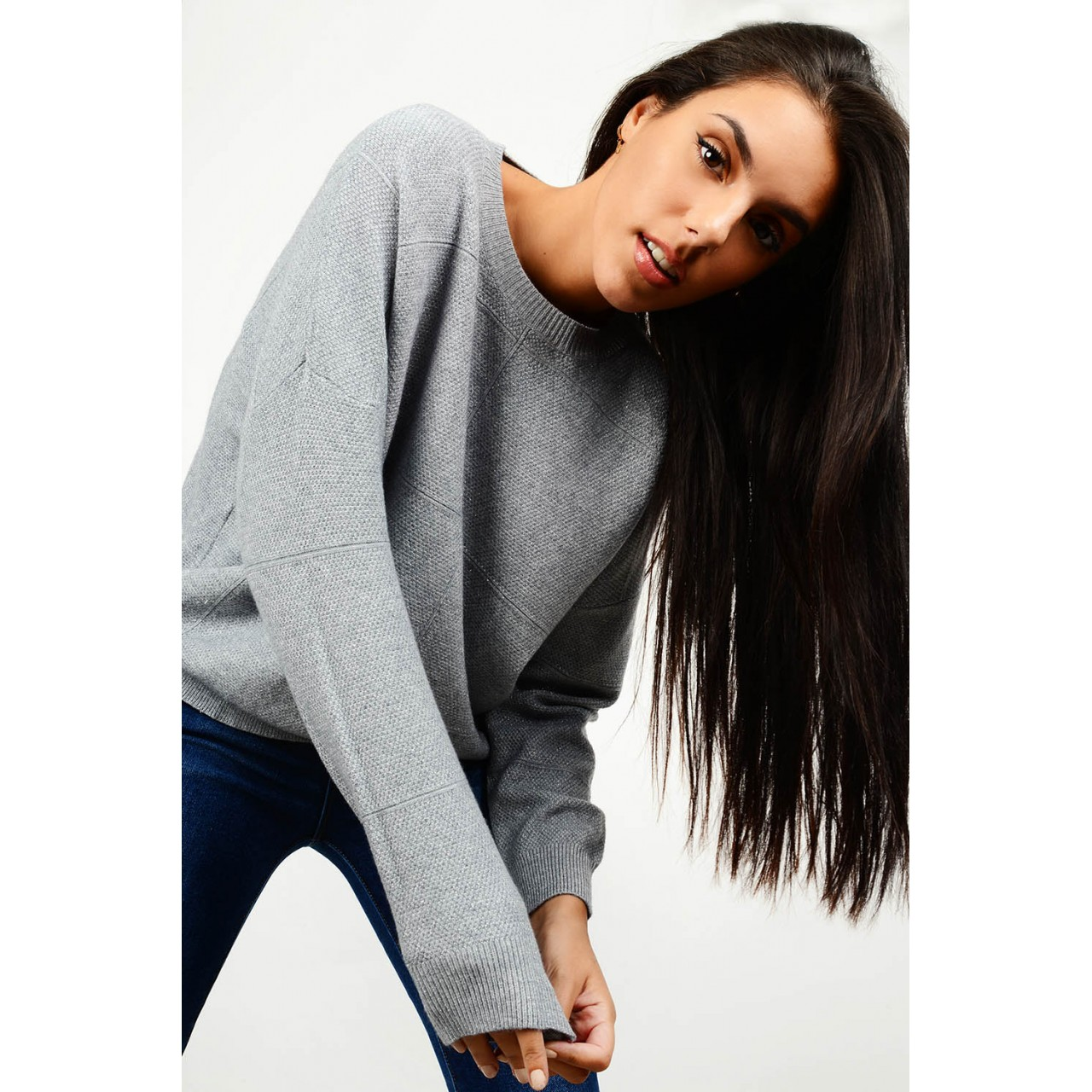 Oversized knit with silver thread